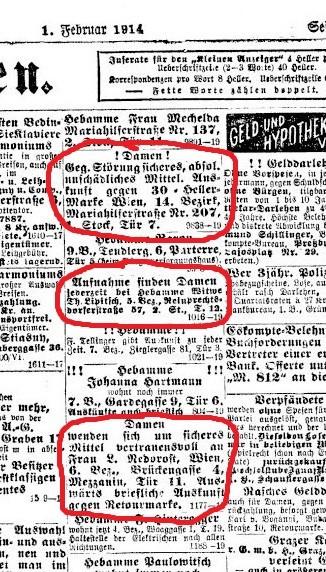 Аборты на дому - судебный процесс 1915 года в Вене.